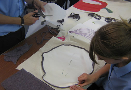 Our Year 10 GCSE Art and Design pupils working on a Textiles project with Artist in Residence Jane Dennerly